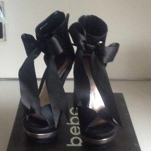 "Heels5"" platform 1 3/4"" black satin size 6"